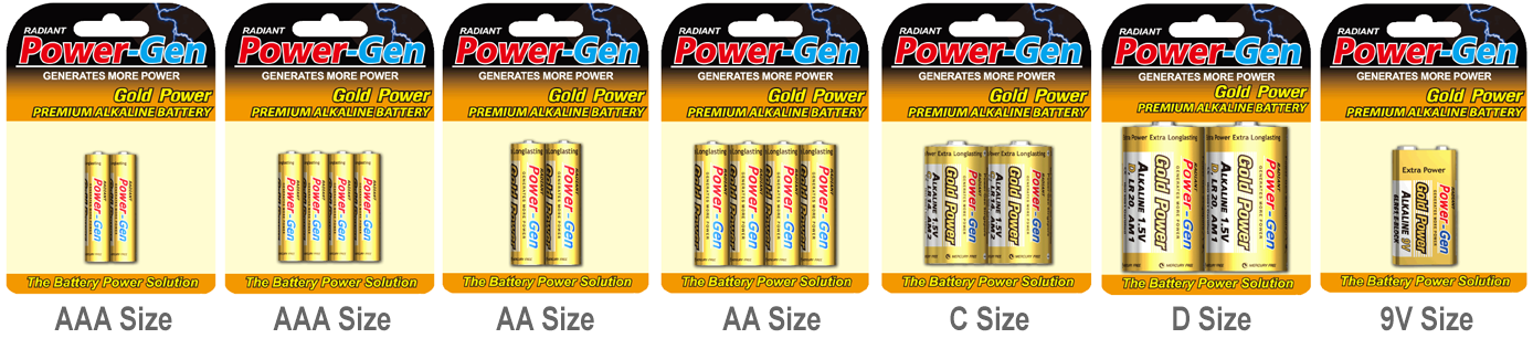 Power-Gen Alkaline Batteries Blister Cards